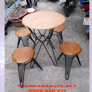 Thanh Lý Bộ Bàn Ghế Gỗ Cafe Chân Sắt -1