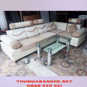 Thanh Lý Bộ Bàn Ghế Sofa Bọc Da Và Vải -1