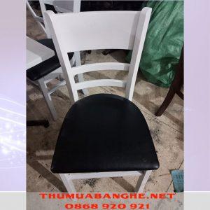 Thanh Lý Ghế Cafe Gỗ Bọc Nệm Da -1