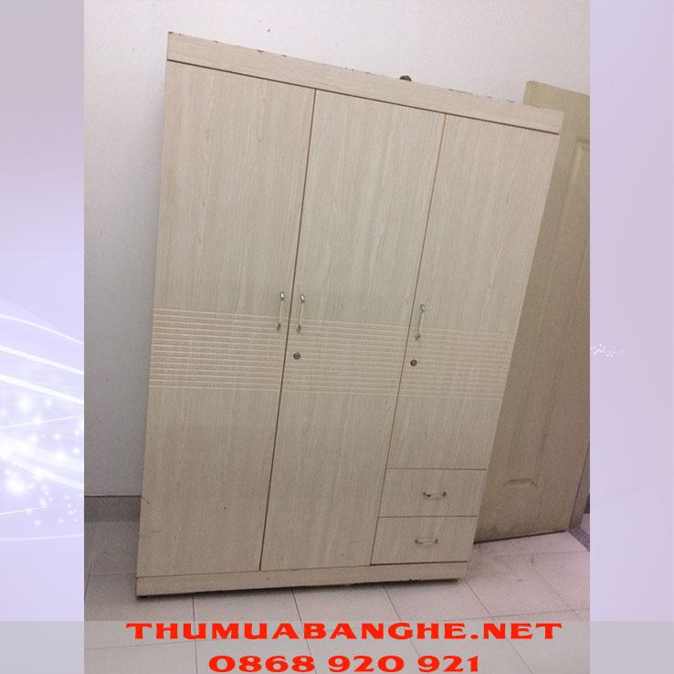 Thanh Lý Tủ Quần Áo Phủ Melamine 3 Cánh Màu Kem -1