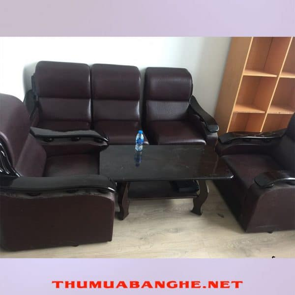 Bộ Bàn Ghế Sofa Cũ Bọc Da Tay Vịn Đen -1