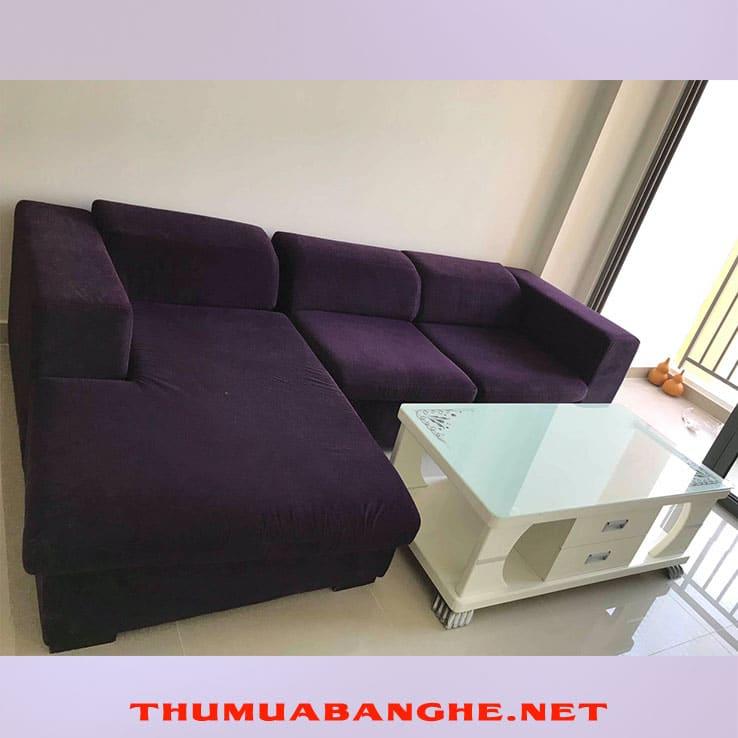 Bộ Sofa Cũ Bọc Vải Cao Cấp Màu Tím Mới 95% -1
