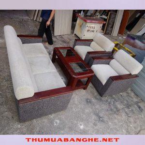 Bộ Sofa Cũ Tay Gỗ Bọc Vải Nỉ Màu Xám -1