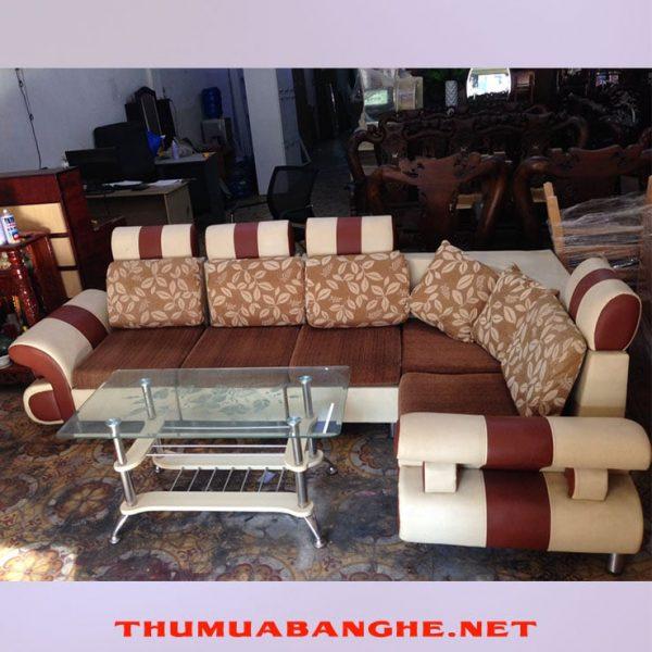 Thanh Lý Bộ Sofa Bọc Da Và Vải Màu Nâu -1